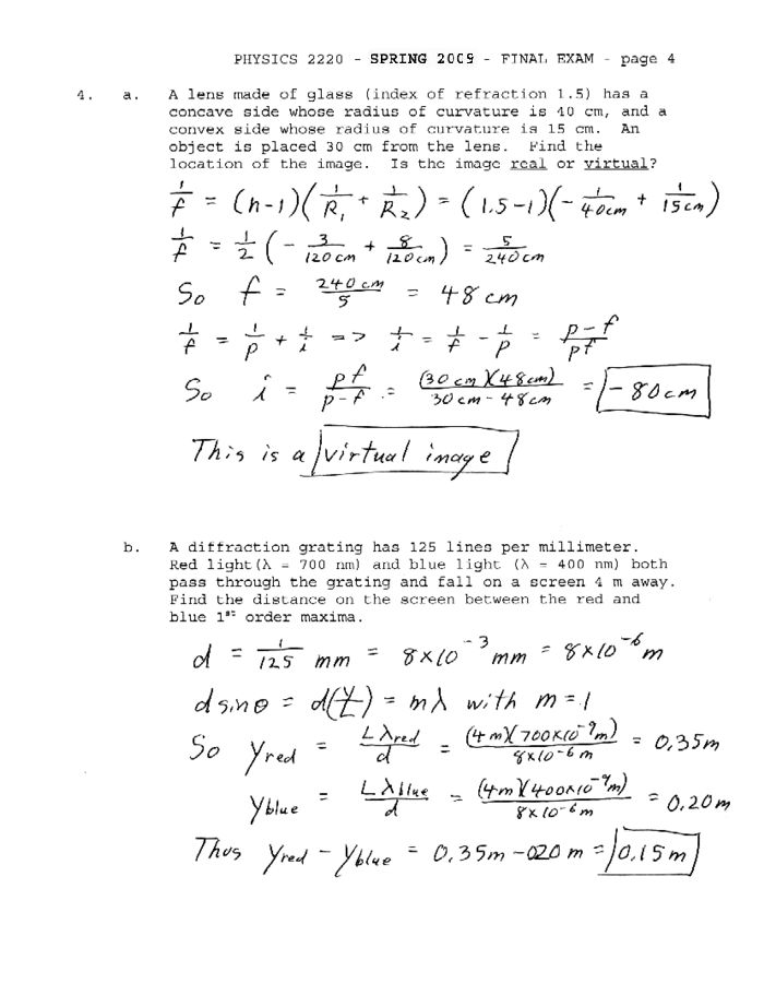 Physics 2220 Exam Solutions (Spring 2009)
