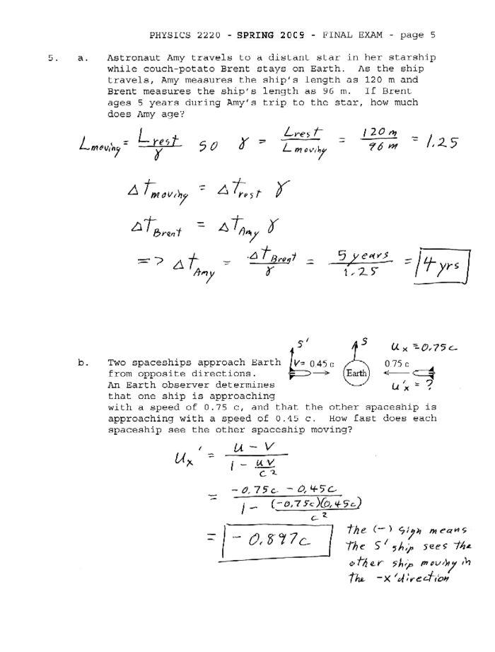 Physics 2220 Exam Solutions (Spring 2009)